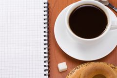 Binder pad and coffee Royalty Free Stock Photos