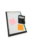 Binder with post-it notes. And calculator isolated Stock Image