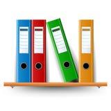 Binder set on wood shelf. Different colored Binder set on wood shelf isolated on white Stock Photos