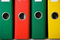 Binders. Close up of colorful binders. Office life Royalty Free Stock Photo