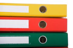 Binders. Close up of colorful binders against white background. Office life Royalty Free Stock Photos