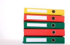 Binders. Colorful binders against white background. Office life Royalty Free Stock Image