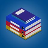 Binders and notebooks. Isometric vector illustration Royalty Free Stock Image