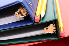 Binders and Pencils Closeup Royalty Free Stock Photography