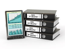 Binders and tablet pc with graph. Electronic report. Binders and tablet pc with graph. 3d Royalty Free Stock Image