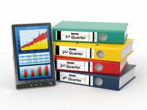 Binders and tablet pc with graph. Electronic report. Binders and tablet pc with graph. 3d Stock Photo