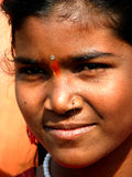 Bindi. An Indian girl wearing the traditional bindi on her forehead Stock Images