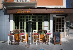 Bindi restaurant front. PALMA DE MALLORCA, BALEARIC ISLANDS, SPAIN - APRIL 13, 2016: Bindi restaurant front in Santa Catalina, Palma de Mallorca, Balearic Royalty Free Stock Photography
