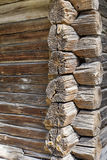 Binding of an ancient wooden wall. Binding place or corner of ancient tree log wall of a farmhouse Royalty Free Stock Photography