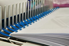 Binding documents with plastic ring binder. Stock Image