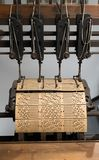 Binding machine. Used to sew together perforated cards for the Jacquard loom royalty free stock photos