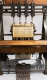 Binding machine. Used to sew together perforated cards for the Jacquard loom stock image