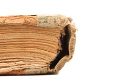 Binding of old book. Close up. Royalty Free Stock Images
