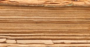 Binding of old book. Close up. Stock Photography