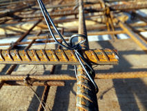 Binding rebar before concreting Stock Photos