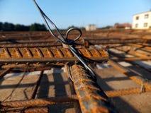 Binding rebar before concreting Royalty Free Stock Images