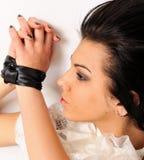 Binding by silk ribbon woman portrait. Royalty Free Stock Photos