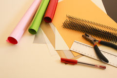 Binding stuff. Binding materials, utensils and paper Royalty Free Stock Images