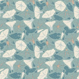 Bindweed. On a blue background in seamless pattern Stock Image