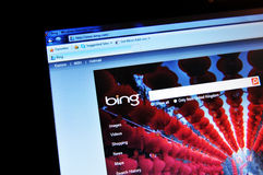 Bing. Search engine on laptop screen Stock Image