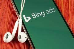 Bing-Anwendungsikone auf Apple-iPhone X Schirmnahaufnahme Bing-Anzeigen-APP-Ikone Bing-Anzeigen ist Online-Werbungs-Anwendung Soz stockfotografie