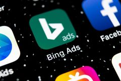 Bing application icon on Apple iPhone X screen close-up. Bing ads app icon. Bing ads is online advertising application. Social med stock photo