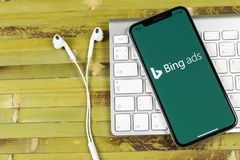 Bing application icon on Apple iPhone X screen close-up. Bing ads app icon. Bing ads is online advertising application. Social med. Sankt-Petersburg, Russia royalty free stock photo
