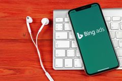 Bing application icon on Apple iPhone X screen close-up. Bing ads app icon. Bing ads is online advertising application. Social med. Sankt-Petersburg, Russia stock photography