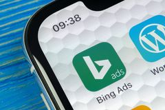 Bing application icon on Apple iPhone X screen close-up. Bing ads app icon. Bing ads is online advertising application. Social med. Sankt-Petersburg, Russia stock images