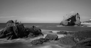 Bing Rock in Santa Cruz Beach in Portugal Stock Images
