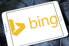 Bing search engine logo. Logo of search engine bing on samsung tablet Royalty Free Stock Photos