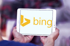 Bing search engine logo. Logo of search engine bing on samsung tablet Stock Image
