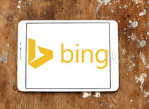 Bing search engine logo. Logo of search engine bing on samsung tablet on wooden background Royalty Free Stock Images