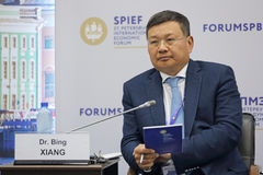 Bing Xiang. SAINT-PETERSBURG, RUSSIA - JUN 17, 2016: St. Petersburg International Economic Forum SPIEF-2016. Dr. Bing Xiang, Founding Dean and Professor of China Stock Photos