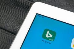 Bingapplikationsymbol på närbild för Apple iPadpro-skärm Symbol för Bingannonsapp Bingannonser är online-advertizingapplikationen arkivbilder