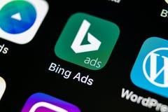 Bingapplikationsymbol på närbild för skärm för Apple iPhone X Symbol för Bingannonsapp Bingannonser är online-advertizingapplikat Royaltyfria Bilder