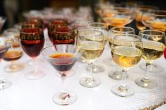 Binge on a buffet table. Drinking different kinds of close-up before a party in a cafe royalty free stock photography