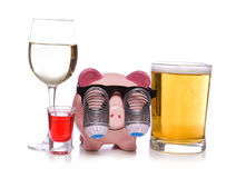 Binge drinking. On a white background stock images