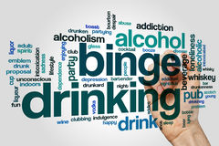Binge drinking word cloud concept on grey background.  stock images