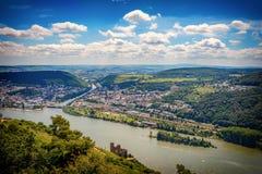 Bingen全景在莱茵河的 库存照片
