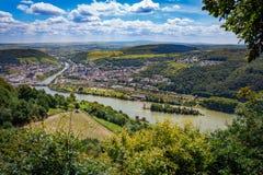 Bingen全景在莱茵河的 免版税库存图片