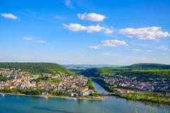 Bingen Rhin y el río Rhine, Renania-Palatinado, Alemania fotografía de archivo