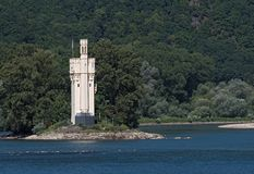 The Binger Mouse Tower, Mauseturm on a small island in the Rhine river, Germany.  royalty free stock image