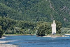 The Binger Mouse Tower, Mauseturm on a small island in the Rhine. River, Germany stock photo