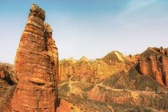 Binggou丹霞地形,张掖 免版税库存照片