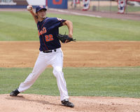 Binghamton Mets pitcher Brandon Moore. Throws a pitch Stock Photography