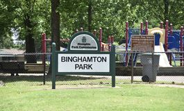 Binghamton Park of the Memphis Park Commission, Memphis, TN. Binghamton Park of the Memphis Park Commission, provides indoor and outdoor recreational areas and stock photography