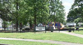 Binghamton Park, Memphis, TN. Binghamton Park provides indoor and outdoor recreational areas and facilities, playgrounds, ball and athletic fields, trails, and royalty free stock photos