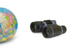 BinGlob. Binoculars and globe isolated on white background Royalty Free Stock Photo