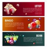 Bingo λαχειοφόρων αγορών σε απευθείας σύνδεση λότο πρότυπα εμβλημάτων Ιστού παιχνιδιών διανυσματικά καθορισμένα απεικόνιση αποθεμάτων